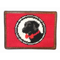 Red Logo Needlepoint Wallet